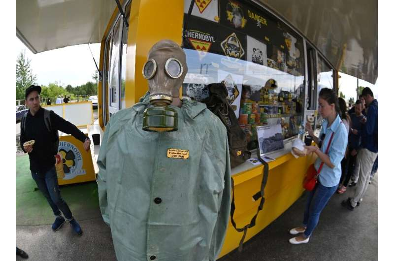 Visitors to the Chernobyl exclusion zone can buy snack, souvenirs, gas masks and hazmat suits