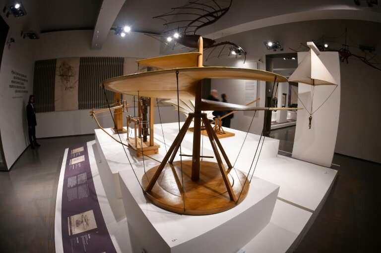 """Visitors will be able to see a reproduction of da Vinci's """"Vite Aerea"""" (Aerial Screw, 1487-1490) at the Scuderie del Q"""