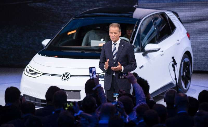"VW chief executive Herbert Diess unveiled the new model, known as ID.3, saying ""the car for the new era is here"""