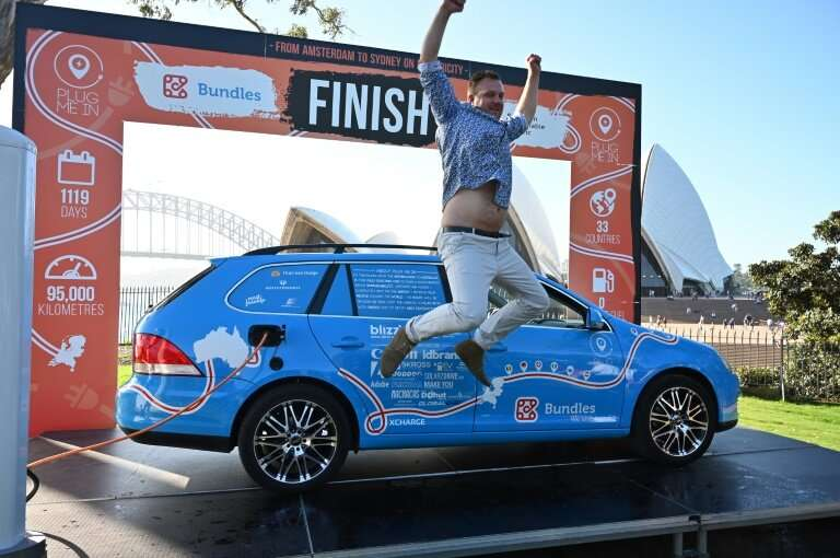 Wiebe Wakker took just over three years crossing 33 countries in his 95,000 km journey by electric car