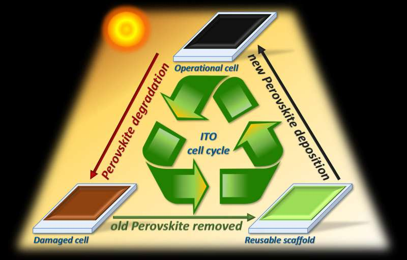 A method for replacing degraded perovskite in solar cells making them recyclable