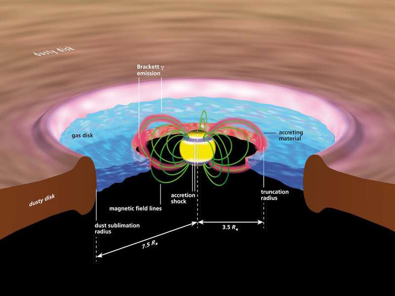 Gas reaches young stars along magnetic field lines