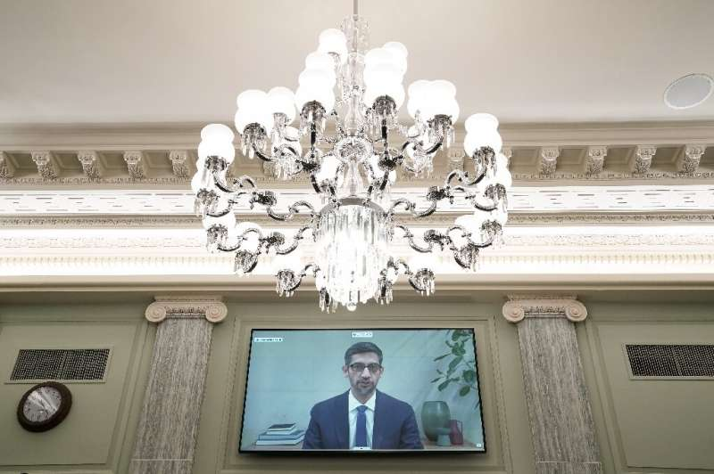 Google CEO Sundar Pichai gives his opening statement remotely during a  hearing to discuss reforming Section 230 of the Communic
