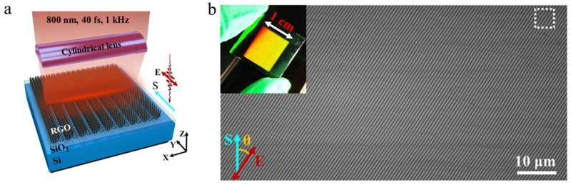 High-speed femtosecond laser plasmonic lithography of graphene oxide film