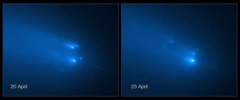 Hubble captures breakup of comet ATLAS