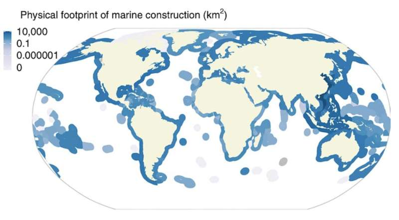 Humans' construction 'footprint' on ocean quantified for first time
