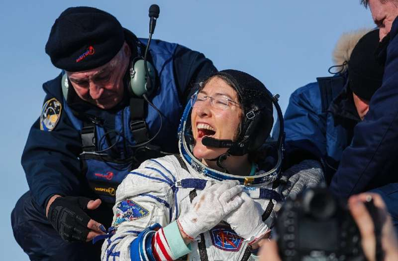 NASA astronaut Christina Koch landed on the Kazakh stepe after 328 days in space