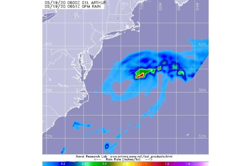 NASA examines tropical storm Arthur's rainfall as it transitions