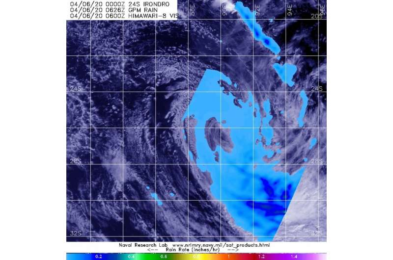 NASA finds Tropical Storm Irondro's heavy rainfall displaced