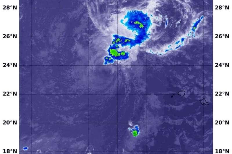 NASA's Terra Satellite finds wind shear weakening Tropical Storm Douglas