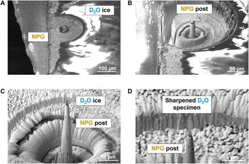 Near-atomic-scale analysis of frozen water