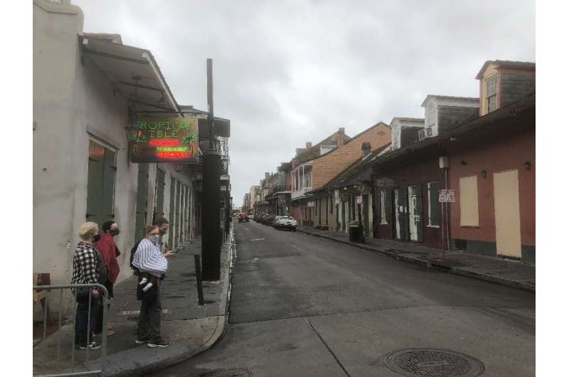 New Orleans's iconic French Quarter was largely deserted ahead of Hurricane Zeta's arrival