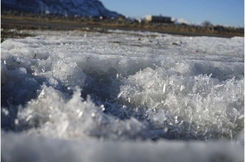 Rare salt formations appear along the Great Salt Lake