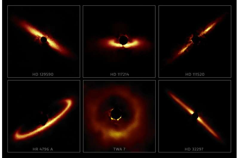 Rogue's gallery of dusty star systems reveals exoplanet nurseries