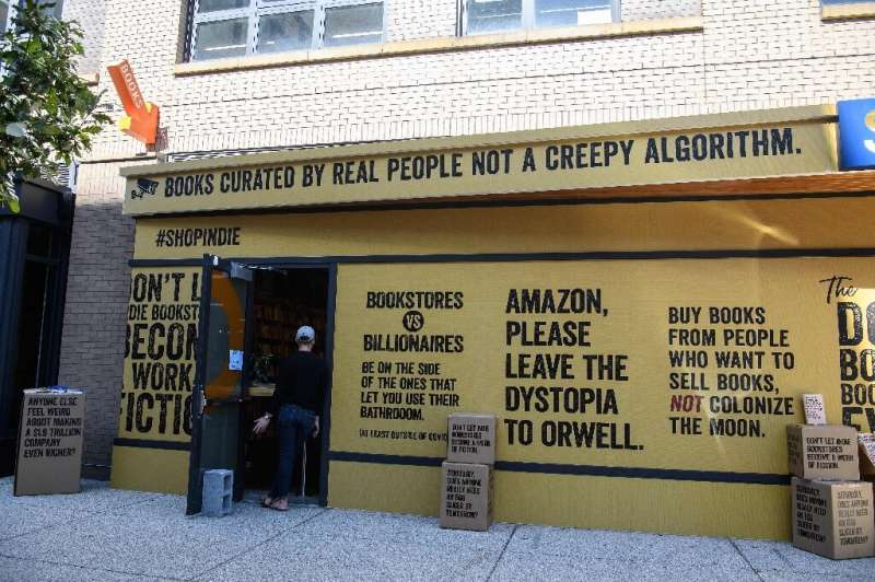 Solid State Books in Washington DC displaying material from the anti-Amazon campaign in its window