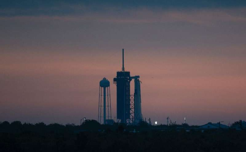 SpaceX's Falcon 9 rocket on the launch pad at Kennedy Space Center