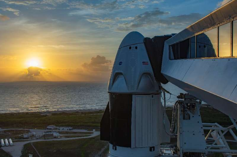 The Crew Dragon capsule is seen atop a Falcon 9 rocket on May 24, 2020