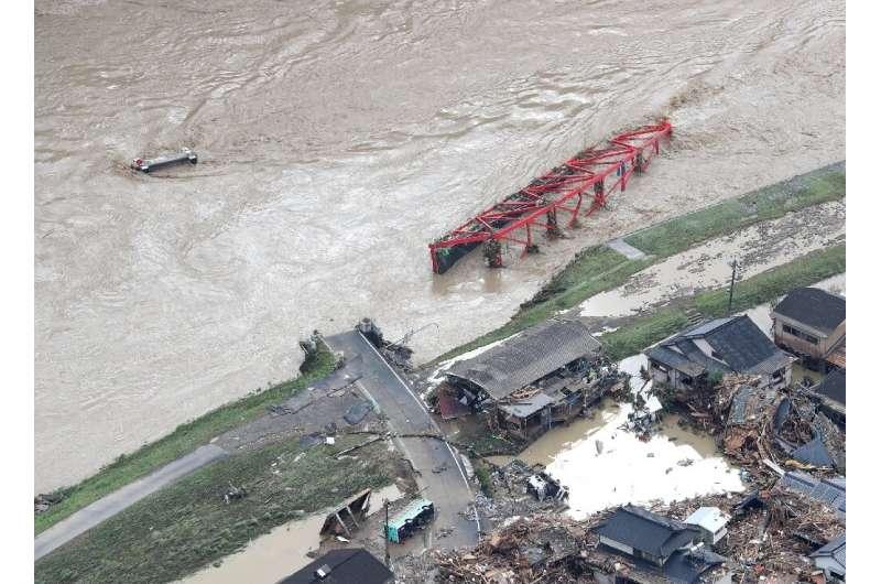 The floods washed away bridges
