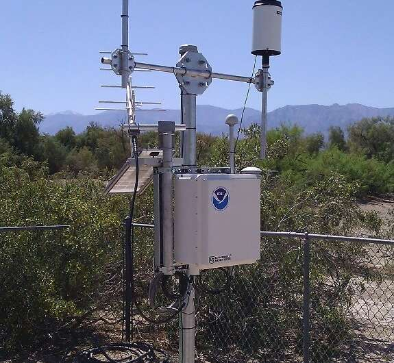 The sensor that recorded a temperature of 130 degrees Fahrenheit (54.4 degrees Celsius) on August 16, 2020 in Death Valley Natio