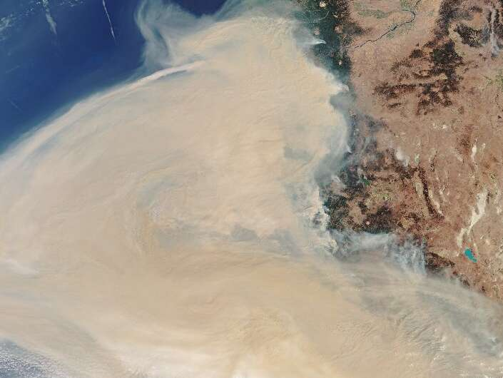 This handout image taken on September 10, 2020, from Copernicus-Sentinel-3 shows the smoke plume off the west coast of the state