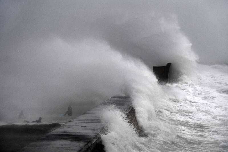 Thousands of people were without power in France as the storm whipped through northwestern regions including Finistere