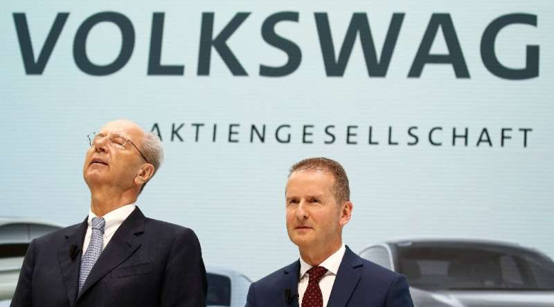 Volkswagen CEO Herbert Diess (R) and VW supervisory board chairman Hans Dieter Poetsch are off the hook after VW paid nine milli