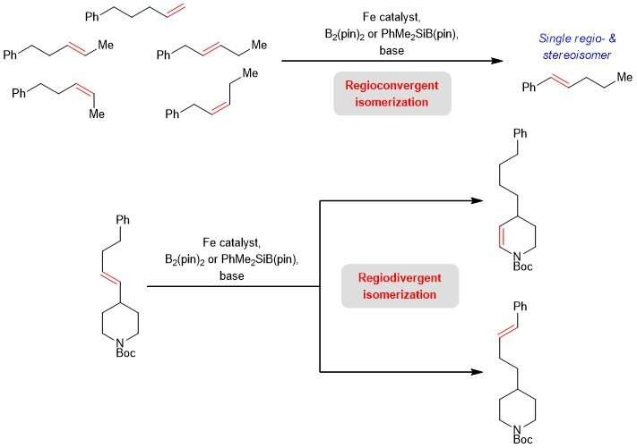 Manipulating chain-walking in olefins using earth-abundant iron-based catalysts