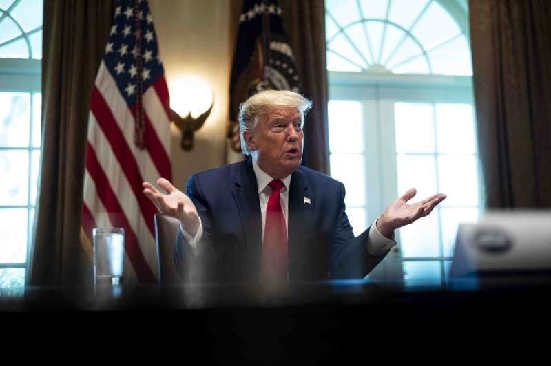 President Donald Trump speaks to energy sector executives on April 3 from the White House; the industry has been hard hit by the