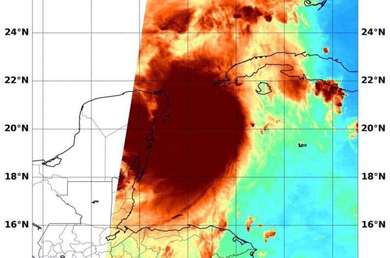 NASA analyzes Hurricane Delta's water vapor concentration