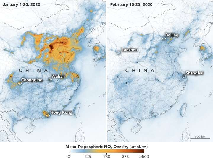 February lockdown in China caused a drop in some types of air pollution, but not others