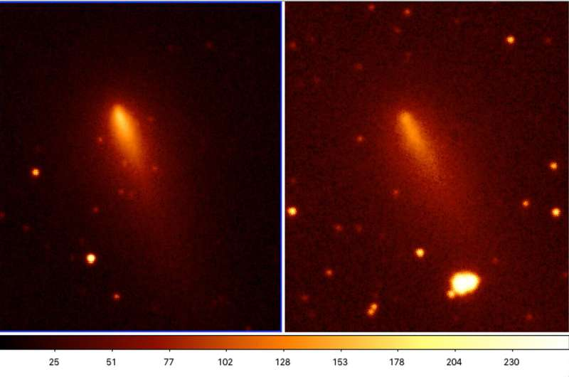 Fragmentation of comet ATLAS observed on the first crowd-sourced pictures from citizen astronomers