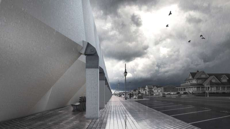 Giant umbrellas shift from convenient canopy to sturdy storm shield