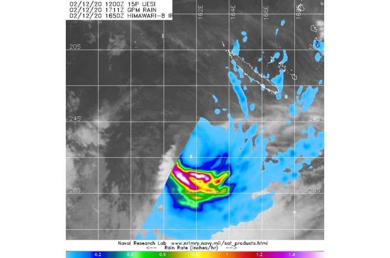 NASA finds heavy rain southwest of tropical cyclone Uesi's center
