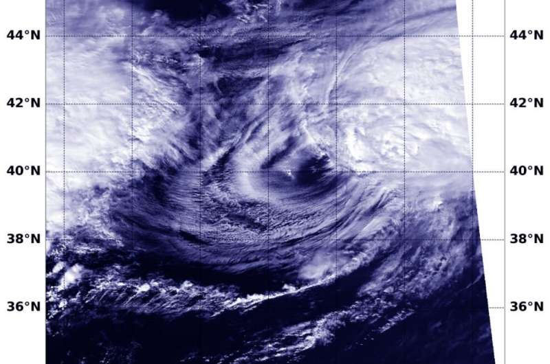 NASA imagery reveals Kujira transitioning into an extratropical cyclone