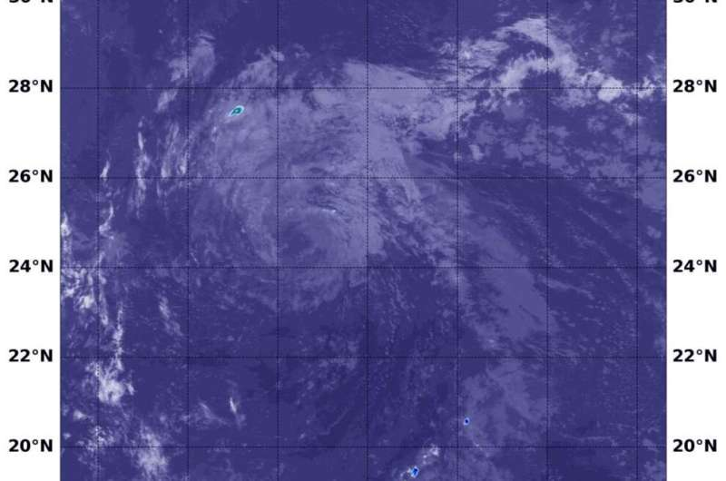 NASA's Terra Satellite finds no strong storms left in Tropical Storm Douglas