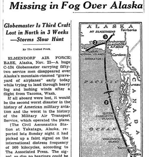 Remains of Cold War plane crash emerging from rapidly melting Alaska glacier