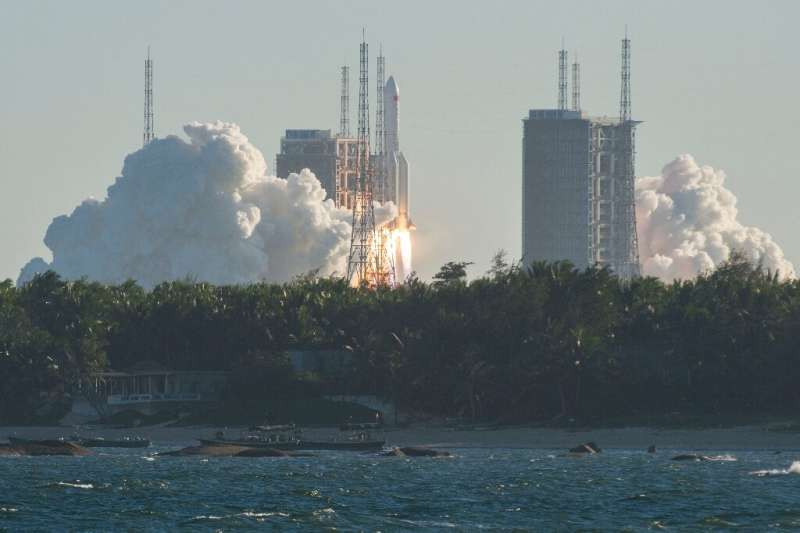 This photo taken on May 5 shows a Long March 5B rocket lifting off from the Wenchang launch site on China's southern Hainan isla