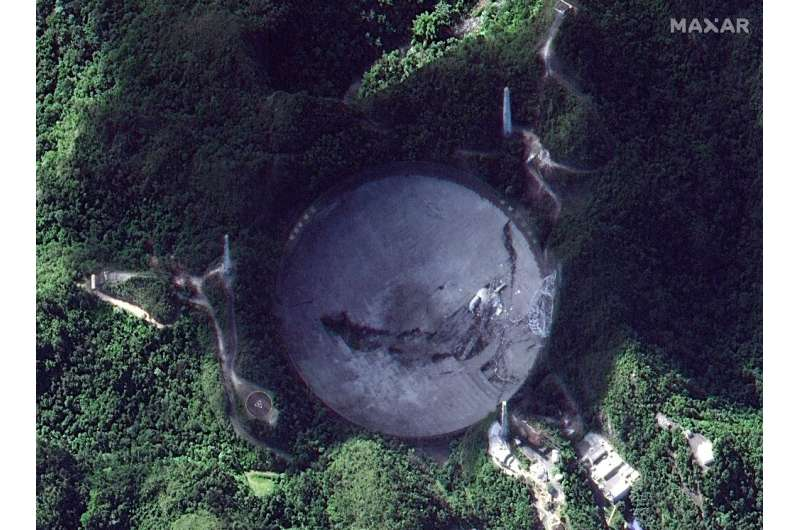 This satellite image shows the Arecibo Observatory in Arecibo, Puerto Rico, after the collapse of its 900-tonne receiver platfor