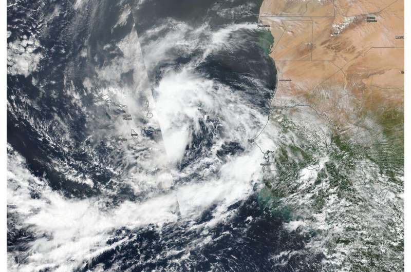 NASA-NOAA satellite sees new Tropical Storm Rene drenching Cabo Verde islands