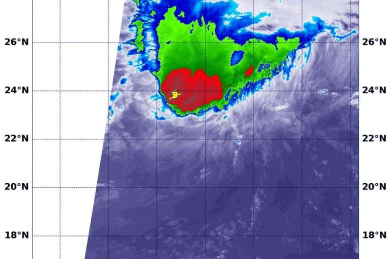 NASA satellite finds a wedge-shaped Tropical Storm Paulette