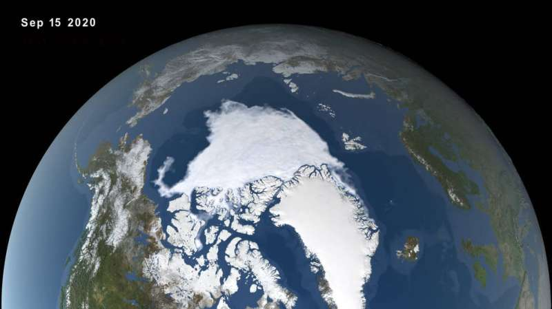 2020 Arctic sea ice minimum at second lowest on record