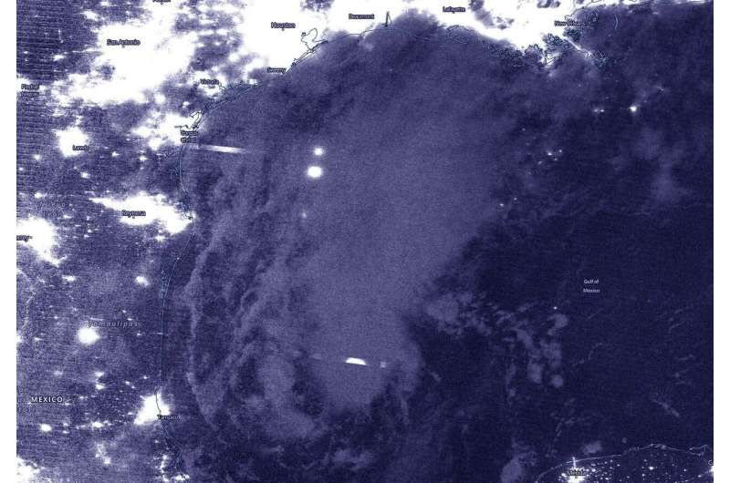 NASA-NOAA satellite sees tropical depression 22 strengthening in gulf of Mexico