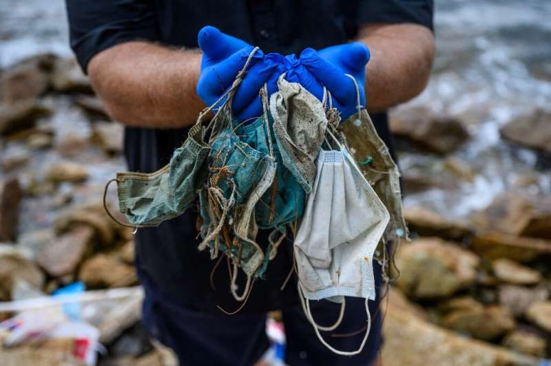 Conservationists are finding face masks washing up on Hong Kong's shores in increased quantities