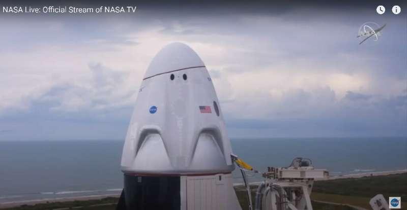 The Crew Dragon capsule atop SpaceX's Falcon 9 rocket