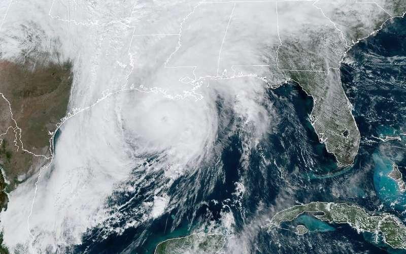 This RAMMB/NOAA satellite image shows Hurricane Zeta moving in the US Gulf Coast towards Louisiana on October 28, 2020, at 17:40