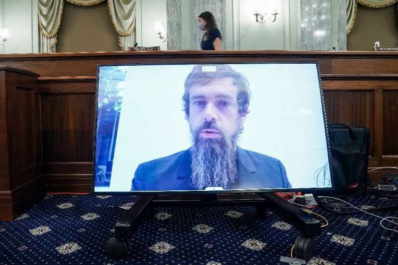 Twitter CEO Jack Dorsey gives his opening statement remotely during a  hearing to discuss reforming Section 230 of the Communica
