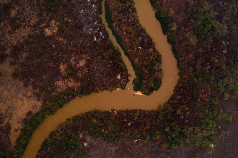 An aerial view showing some of the fire damage in Brazil's Pantanal