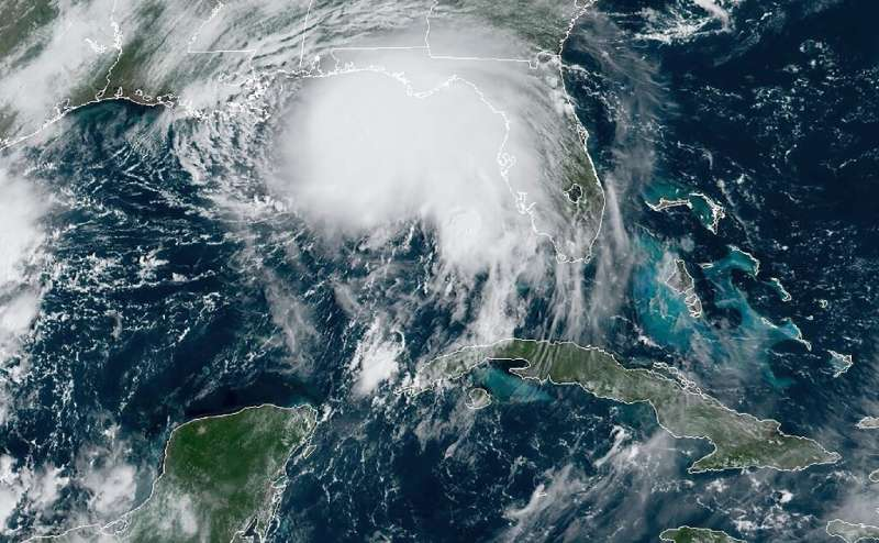 Hurricane Sally, seen off the Gulf of Mexico on September 14, 2020, at 1510 GMT