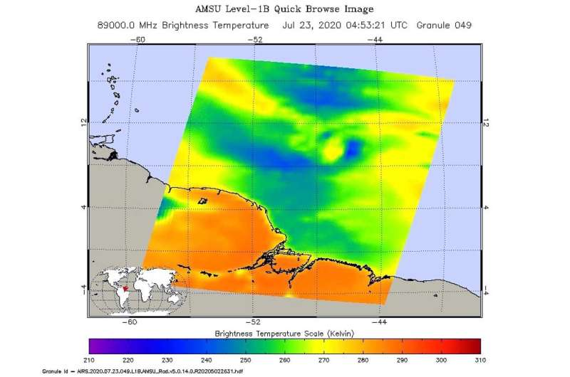 NASA examines Tropical Storm Gonzalo's structural changes