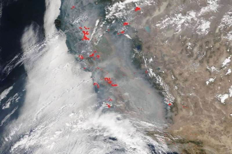 NASA's Terra Satellite shows smoky pall over most of California